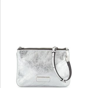 Marc Jacobs Double Percy Silver Crossbody Bag